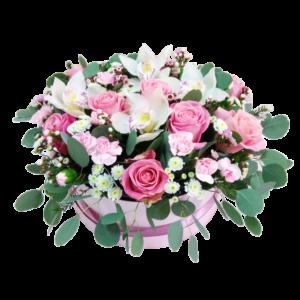 Шляпная коробка с цветами №10